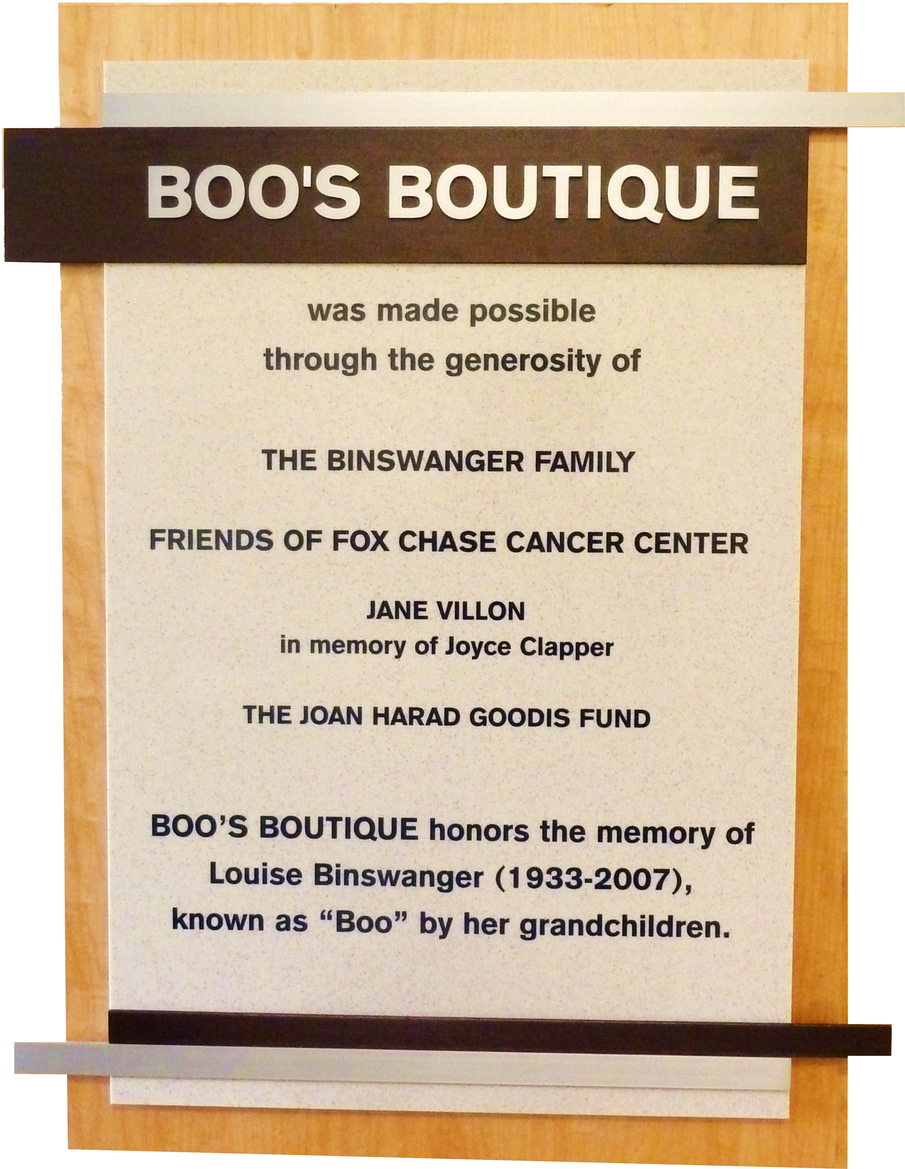 Boo's Boutique - Fox Chase Cancer Center
